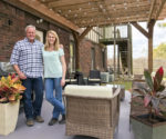 cedar stained pergola over concrete patio Danny Lipford and Chelsea Lipford Wolf after updating patio for charity